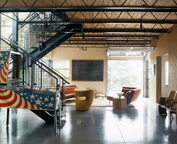 Industrial Style Home Marvelous Scissor Truss Look Seattle Industrial Living Room