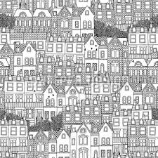 houses seamless vector pattern