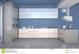 modern kitchen interior with light blue wallpaper stock photo