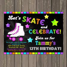 roller skating birthday invitation skate party invitation glow