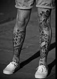 alien black and white tattoo on leg photo 2 photo pictures