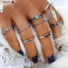 style leaf ring set new gold color lucky arrow midi rings for
