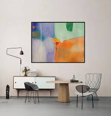 Modern Wall Art Modern Artwork Green Orange Purple White Abstract Art Big Painting