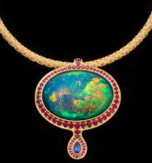 opal australia necklace images Australian opal pendant surrounded in rubies with sapphire drop jpg