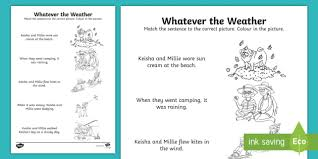 whatever the weather sentence and picture matching activity