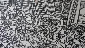 cell phone city take over graffiti wall mural heyapathy surreal robot cell phone mural robot kawaii selfie robot drawings