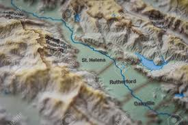Map Of Napa Close Up Of St Helena Wine District On 3d Map Napa Valley Stock