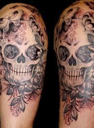cross with pearl 11 sugar skull half sleeve
