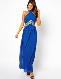 little mistress halter maxi dress with embellishment in blue lyst