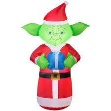 walmart inflatable halloween decorations 5 u0027 airblown inflatable yoda with present star wars christmas