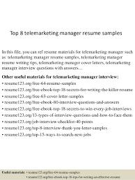 top 8 telemarketing manager resume samples 1 638 jpg cb u003d1431768918