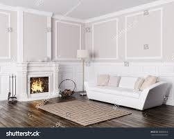 Livingroom Fireplace Classic Interior Design Living Room White Stock Illustration