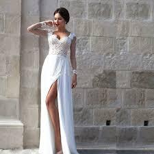 white lace prom dress split sleeve white lace prom dress vestido de festa