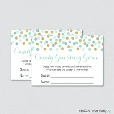 baby shower guessing mint and gold baby shower candy guessing printable
