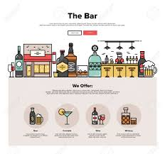 one page web design template with thin line icons of local bar