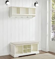 mudroom padded storage bench hall bench and coat rack long white