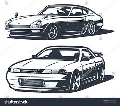 drift cars japanese drift cars monochrome isolate vector stock vector
