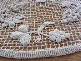 Linge De Table Ancien Long Chemin De Table Fait Main Filet Crochet Grappe Raisin Linge