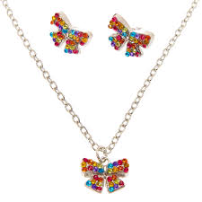earrings necklace images Jojo siwa rainbow necklace earrings set claire 39 s us jpg