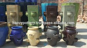 Glazed Ceramic Pots Tall Round Glazed Ceramic Outdoor Pots Tall Garden Pots Blue