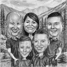 caricature family portrait with pets from photographs