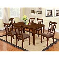 Amazoncom The Room Style  Piece Cherry Finish Solid Wood - Wood dining room table