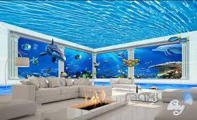 wallpaper for entire wall 3d shimmering water ceiling dophin window view entire room bathroom