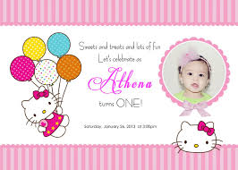 Invitation Card For 1st Birthday Hello Kitty Invitations Templates Places To Visit Pinterest