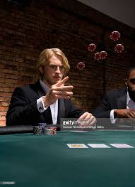10 Person Poker Table Man Throwing Poker Chips In Casino Stock Photo Getty Images