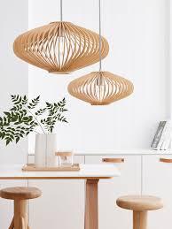 Wooden Pendant Lighting by Kiel 360mm Natural Wooden Pendant