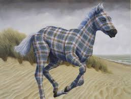 Wild animals wear colorful plaid patterns in delightful painting