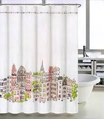 Salmon Colored Shower Curtain Amazon Com Tahari Paris Street In Color Fabric Shower Curtain
