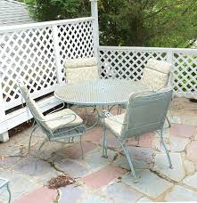 Vintage Metal Patio Furniture - vintage iron patio set with umbrella chairs and side table ebth
