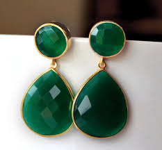 emerald green earrings green onyx drop post earrings emerald green earring dual