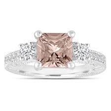 morganite engagement ring gold princess cut morganite engagement ring three wedding ring
