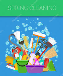 spring cleaning background tools of housecleaning vector u2014 stock