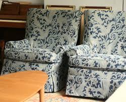 custom slipcovers by shelley blue paisley swivel rocker chairs