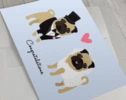 wedding cards for and groom pug wedding card etsy