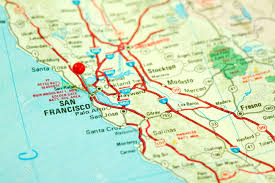 Map Of San Francisco by Map Of San Francisco Bay Area With Red Pin In City Stock Photo