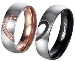 stainless steel wedding sets anazoz jewelry his hers for real heart promise ring