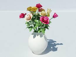 Vase With Roses Roses Vase 3d Model Realtime 3d Models World