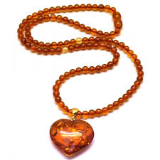 natural amber necklace images Natural baltic amber necklace with heart pendant from online JPG