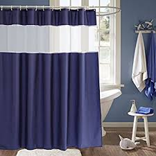 White Shower Curtains Fabric Amazon Com Fabric Shower Curtain Nautical Stripe Design Navy