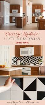 diy kitchen tile backsplash diy black and white vinyl backsplash the gathered home