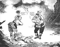 Iron Curtain Political Cartoons Stalin End Feud Ink Non Aggression Pact World War Ii