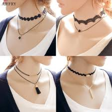black choker style necklace images Aiffry leather choker necklace 2 layer 7 style velvet black choker jpg