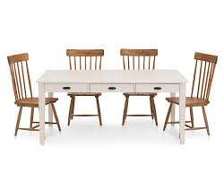 magnolia home 5 pc farmhouse dining set with 6 u0027 white table