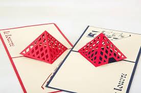 5pcs lot 3d pop up card diy drawing louvre museum design greeting