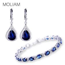 earrings bracelet sets images Moliam 2017 fashion style jewellery sets silver color zirconia jpg