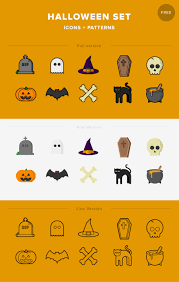 halloween set icons patterns free download